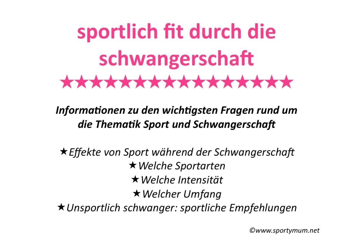 30. SSW - Neue Informationsübersicht: Sportlich fit durch die Schwangerschaft